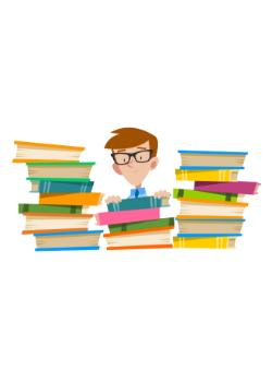 graphic of a learner surrounded by books